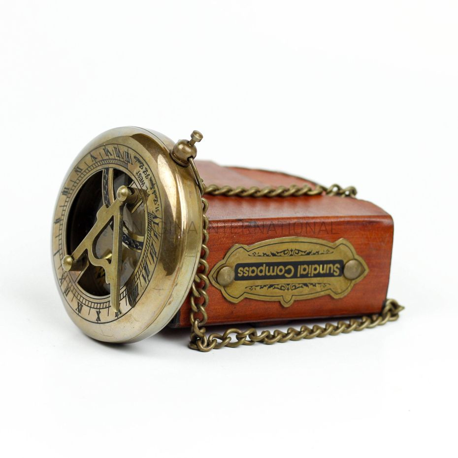 COMPASS Antique Brass Marine Nautical Collectible Home Decor With Leather Box
